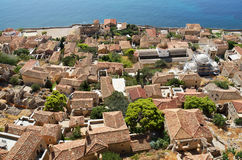 View of Monemvasia from hillside Royalty Free Stock Image