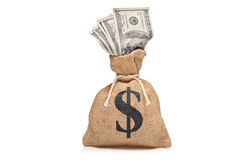 A view of a money bag with US dollars Stock Photography
