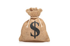 A view of a money bag with US sign. Against white background royalty free stock images
