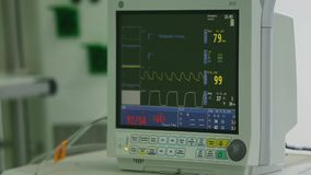 View Monitoring of patient`s condition, vital signs on ICU monitor in hospital.  stock footage