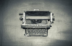 View of monochrome classic vintage, retro style old typewriter machine Stock Images