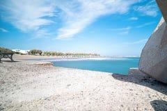 Monolithos beach - Aegean sea - Santorini island - Greece. View of Monolithos beach - Aegean sea - Santorini island - Greece royalty free stock photo