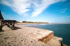 Monolithos beach - Aegean sea - Santorini island - Greece. View of Monolithos beach - Aegean sea - Santorini island - Greece stock photo