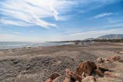 Monolithos beach - Aegean sea - Santorini island - Greece. View of Monolithos beach - Aegean sea - Santorini island - Greece stock image