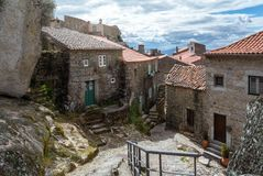View on the Monsanto village Portugal. Rocks, moss and doors of Monsanto village in Portugal Royalty Free Stock Photography