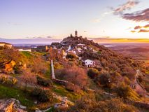 Monsaraz in Alentejo region, Portugal. View of Monsaraz in Alentejo region, Portugal, at sunset Royalty Free Stock Images