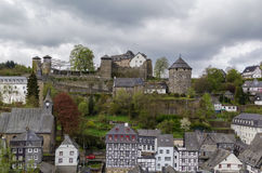 View of Monschau and castle from hill, Germany Stock Image