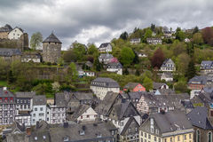 View of Monschau and castle from hill, Germany Royalty Free Stock Photos