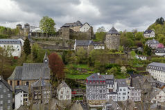 View of Monschau and castle from hill, Germany Royalty Free Stock Images