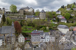 View of Monschau and castle from hill, Germany Stock Photography