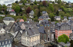 View of Monschau town centre from hill, Germany Royalty Free Stock Images