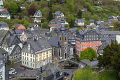 View of Monschau town centre from hill, Germany Royalty Free Stock Photos