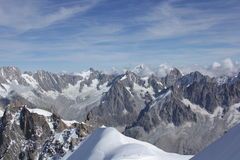 View of the Mont Balc massif. View of the Mont Blanc massif without the Mont Blanc peak itself Royalty Free Stock Photo