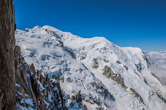 View of the Mont Blanc from the Aiguille du Midi in French Alps. View of the Mont Blanc from the Aiguille du Midi, in French Alps Chamonix Mont Blanc, alpine Royalty Free Stock Image