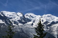 View of the Mont Blanc on a beautiful sunny day. Alps. Royalty Free Stock Photos