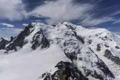 View of the Mont Blanc on a beautiful sunny day. Alps. Stock Photos