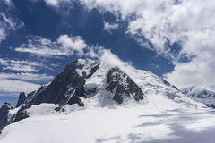 View of the Mont Blanc on a beautiful sunny day. Alps. Stock Photography