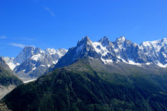 View of the Mont-Blanc massif mountain, France Stock Photo