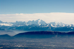 View on Mont-Blanc massive. Bird-eye view on Geneva valley and  Mont-Blanc massive. Switzerland, taken in Jan 2010 Stock Images