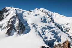 View of Mont Blanc mountain range from Aiguille Du Midi in Chamo Stock Image