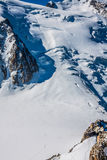 View of Mont Blanc mountain range from Aiguille Du Midi in Chamo Stock Photo