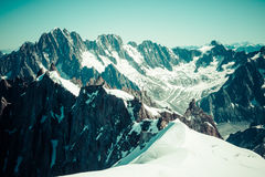 View of Mont Blanc mountain range from Aiguille Du Midi in Chamo Stock Photography