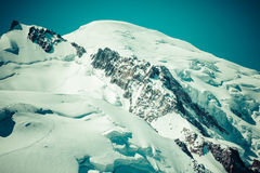 View of Mont Blanc mountain range from Aiguille Du Midi in Chamo Royalty Free Stock Photos