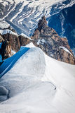 View of Mont Blanc mountain range from Aiguille Du Midi in Chamo Stock Photos