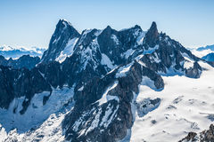 View of Mont Blanc mountain range from Aiguille Du Midi in Chamo Royalty Free Stock Image
