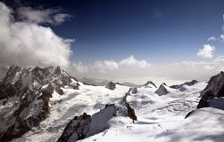 A view on Mont Blanc mountain range from top of Aiguille du Midi Stock Photos