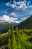 View of the Mont-Blanc peak from Lac d'Emosson near Swiss city of Finhaut and French city of Chamonix Royalty Free Stock Image
