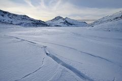 View of the Mont Cenis lake in winter Stock Images