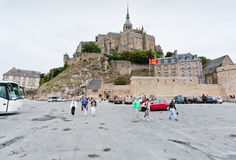 View on Mont Saint-Michel, France. MONT SAINT-MICHEL, FRANCE - JULY 5: view on Mont Saint-Michel. Mont-Saint-Michel was used in the 6th and 7th centuries as an Stock Image