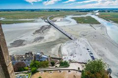 View from the Mont-Saint-Michel, France. Mont Saint-Michel, France - September 7, 2016: Saint Michael`s Mount is an island commune in Normandy. The island has Royalty Free Stock Photos
