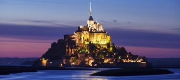 View of Mont-Saint-Michel by night Stock Photography