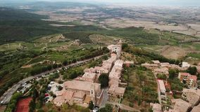 View of Montalcin City Brunello Italy. View of Montalcino the tuscany City Brunello Italy stock footage