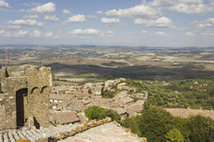 View of Montalcino city from its Castle Stock Images