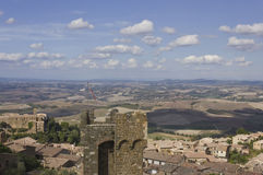 View of Montalcino city from its Castle, and Tuscany landscape Royalty Free Stock Images