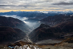 View from Monte Bianco Mont Blanc Valle d`Aosta. Italy Stock Photography