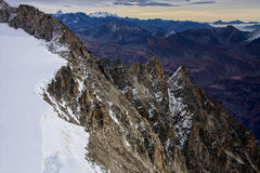 View from Monte Bianco Mont Blanc Valle d`Aosta. Italy Royalty Free Stock Images