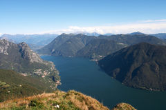 View from monte Bre over the Lugano lake Royalty Free Stock Photo