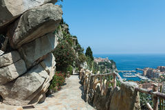View of Monte Carlo and the Mediterranean Sea. From the garden of exotic plants Stock Photography