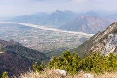 View from Monte Chiampon to Friuli-Venezia Giulia in Italy Stock Photography