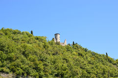 View of Monte Isola island from ferry on Lake Iseo, detail of hill, Lombardy, Italy Stock Photo