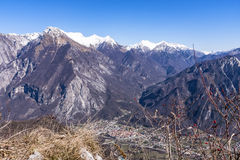 View from Monte San Simeone to Venzone and Julian Alps Royalty Free Stock Photo