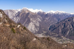 View from Monte San Simeone to Venzone and Julian Alps Stock Image