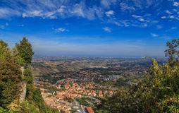 View from Monte Titano, Italy. Panorama of Republic of San Marino and Italy from Monte Titano, City of San Marino. City of San Marino is capital city of Republic Stock Images
