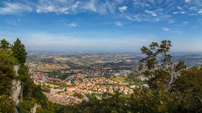 View from Monte Titano, Italy. Panorama of Republic of San Marino and Italy from Monte Titano, City of San Marino. City of San Marino is capital city of Republic Stock Photography