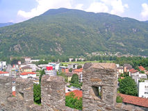 View from Montebello castle in Bellinzona, Switzerland Stock Image