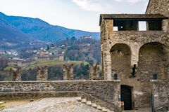 View of Montebello Castle and Sasso Corbaro Castle from Castelgr. Ande castle in Bellinzona Switzerland Royalty Free Stock Photography